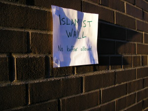 """Islamist Wall: No kuffar allowed."" Image provided by the authors."